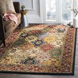 "Safavieh Heritage Collection HG911A Handmade Traditional Oriental Premium Wool Area Rug, 7'6"" x 9'6"", Multi / Burgundy"