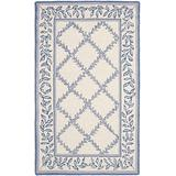 """Safavieh Chelsea Collection HK230A Hand-Hooked French Country Wool Area Rug, 3'9"""" x 5'9"""", Ivory / Light Blue"""