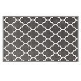 House, Home and More Skid-Resistant Carpet Indoor Area Rug Floor Mat – Moroccan Trellis Lattice – Misty Gray & Linen White – 3 Feet X 5 Feet