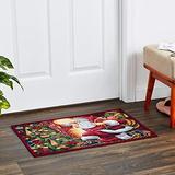 "Violet Linen Decorative Christmas Tapestry Area Rug, 19"" x 27"", Santa Claus Design"