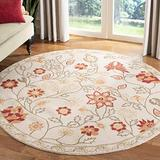 Safavieh Chelsea Collection HK716A Hand-Hooked French Country Wool Area Rug, 4' x 4' Round, Ivory / Green