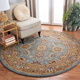 """Safavieh Heritage Collection HG958A Handmade Traditional Oriental Premium Wool Area Rug, 3'6"""" x 3'6"""" Round, Blue / Gold"""