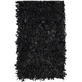 "Safavieh Leather Shag Collection LSG511A Hand-Knotted Modern Leather Accent Rug, 2'3"" x 4', Black"