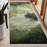 "Safavieh Soho Collection SOH712G Handmade Starburst Premium Wool & Viscose Runner, 2'6"" x 8' , Green / Multi"