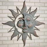 Half Face Sun Wall Plaque Art Patina , Patina