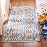 """Safavieh Chelsea Collection HK150A Hand-Hooked French Country Wool Runner, 2'6"""" x 6' , Ivory / Blue"""