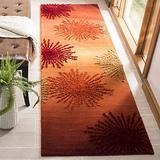 "Safavieh Soho Collection SOH712R Handmade Starburst Premium Wool & Viscose Runner, 2'6"" x 8' , Rust / Multi"