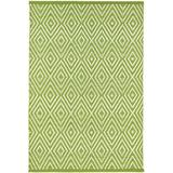 Dash and Albert Rugs Diamond Geometric Hand-Woven Flatweave Green Indoor/Outdoor Area Rug Polypropylene in White, Size 60.0 H x 36.0 W x 0.25 D in