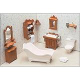 Greenleaf Dollhouses Bathroom Furniture Kit Wood in Brown, Size 15.75 W x 9.5 D in | Wayfair 7204