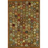 Dash and Albert Rugs Cat's Paw Geometric Hand-Hooked Wool Brown Area Rug Wool in White, Size 60.0 H x 36.0 W x 0.13 D in | Wayfair RDA014-35
