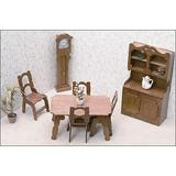 Greenleaf Dollhouses Dining Room Furniture Kit Wood in Brown, Size 15.75 W x 9.5 D in | Wayfair 7202