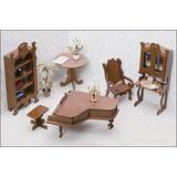 Greenleaf Dollhouses Library Furniture Kit Wood in Brown, Size 15.75 W x 9.5 D in | Wayfair 7206
