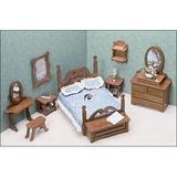 Greenleaf Dollhouses Bedroom Furniture Kit Wood in Brown, Size 15.75 W x 9.5 D in | Wayfair 7201