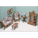 Greenleaf Dollhouses Living Room Furniture Kit Wood in Brown, Size 15.75 W x 9.5 D in | Wayfair 7203