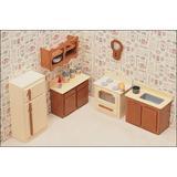 Greenleaf Dollhouses Kitchen Furniture Kit Wood in Brown | Wayfair 7205