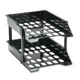 Deflect-O Corporation Super Tray Unbreakable Countertop Tray Set, Two-Tier, Plastic Plastic in Black, Size 2.5 H x 11.25 W x 14.75 D in   Wayfair