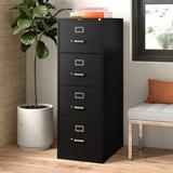 CommClad 4-Drawer Vertical Filing Cabinet Metal/Steel in Black, Size 52.0 H x 18.0 W x 26.5 D in   Wayfair HRH1008 6077984