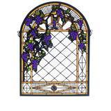Meyda Tiffany Grape Diamond Trellis Stained Glass Window in Green/Indigo/Yellow, Size 22.0 H x 16.0 W x 0.7874 D in   Wayfair 38656