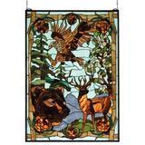 Meyda Tiffany Rustic Lodge Wilderness Stained Glass Window in Brown/Green, Size 35.0 H x 25.0 W x 0.7874 D in   Wayfair 77732