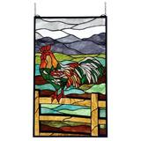 Meyda Tiffany Tiffany Rooster Stained Glass Window in Brown/Green/Red, Size 31.0 H x 19.0 W x 0.7874 D in   Wayfair 69398