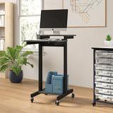 Luxor Mobile Adjustable Height Computer Workstation AV Cart Metal in Black, Size 45.0 H x 24.0 W x 31.0 D in | Wayfair PS3945