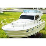 Old Modern Handicrafts Viking Sport Cruiser Model Yacht Wood in Blue/Brown/White, Size 19.0 H x 36.0 W x 12.0 D in | Wayfair B082