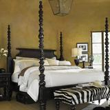 Tommy Bahama Home Kingstown Solid Wood Four Poster Bed Wood in Black/Brown/Red, Size 89.25 H x 82.0 W x 92.75 D in   Wayfair 01-0619-174C