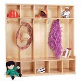 Wood Designs 5 Section Preschool Cubby Locker Wood in Brown/Yellow, Size 48.0 H x 48.0 W x 14.0 D in | Wayfair 51020