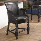 Tommy Bahama Home Kingstown Bar & Counter Swivel Stool Wood/Upholstered in Black/Brown, Size 47.5 H x 24.75 W x 23.75 D in | Wayfair 01-0619-816-01
