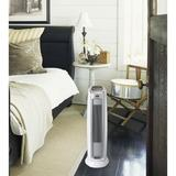 "Lasko Ceramic 1,500 Watt Portable Electric Fan Tower Heater w/ Thermostat in White, Size 22""H X 7""W X 7""D 