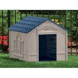 Suncast Taupe & Plastic Dog House Plastic House in Blue, Size 32.0 H x 33.0 W x 38.5 D in | Wayfair DH350