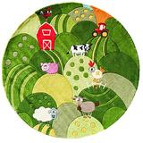 Momeni Rugs Lil' Mo Whimsy Collection, Kids Themed Hand Carved & Tufted Area Rug, 5' Round, Grass Green