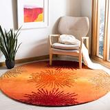 Safavieh Soho Collection SOH712R Handmade Starburst Premium Wool & Viscose Area Rug, 6' x 6' Round, Rust / Multi