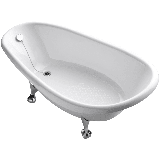 "Kohler K-100 Birthday Bath 72"" Cast Iron Clawfoot Soaking Bath Tub with Reversible Drain White"