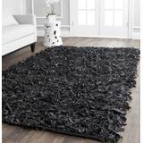 Safavieh Leather Shag Collection LSG511A Hand-Knotted Modern Leather Area Rug, 5' x 8', Black