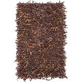 Safavieh Leather Shag Collection LSG511B Hand-Knotted Modern Leather Area Rug, 4' x 6', Saddle