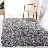 Safavieh Leather Shag Collection LSG511C Hand-Knotted Modern Leather Area Rug, 6' x 6' Square, White