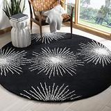 Safavieh Soho Collection SOH712D Handmade Starburst Premium Wool & Viscose Area Rug, 6' x 6' Round, Black / White