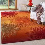 Safavieh Soho Collection SOH712R Handmade Starburst Premium Wool & Viscose Area Rug, 6' x 6' Square, Rust / Multi