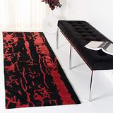 """Safavieh Soho Collection SOH326B Handmade Premium Wool Runner, 2'6"""" x 10' , Black / Red"""