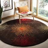 Safavieh Soho Collection SOH712B Handmade Starburst Premium Wool & Viscose Area Rug, 6' x 6' Round, Brown / Multi