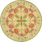 Safavieh Chelsea Collection HK330A Hand-Hooked French Country Wool Area Rug, 4' x 4' Round, Beige / Green