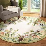Safavieh Chelsea Collection HK295A Hand-Hooked French Country Wool Area Rug, 4' x 4' Round, Assorted