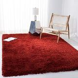Safavieh Classic Shag Collection SG240R Handmade 1.75-inch Thick Area Rug, 7' x 7' Square, Rust