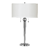 """Cal Lighting BO-2007TB 120 Watt 28.5"""" Metal Table Lamp with On/Off Pull-Chain Switch and Drum Fabric"""