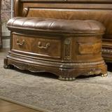 Michael Amini Cortina Honey Walnut Upholstered Flip top Storage Bench Solid + Manufactured Wood/Wood in Brown, Size 24.0 H x 54.0 W x 23.5 D in