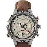 Timex Men's T2N721 Intelligent Quartz Compass Tide Temperature Silver Case Brown Strap Watch