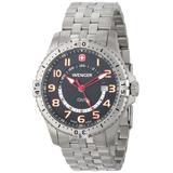 Wenger Men's 77076 Squadron GMT Black Dial Steel Bracelet Watch