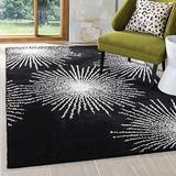 Safavieh Soho Collection SOH712D Handmade Starburst Premium Wool & Viscose Area Rug, 8' x 8' Square, Black / White
