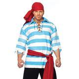 Leg Avenue Women's 4 Piece Pillaging Pirate Halloween Costume Set for Adult Men, Blue/White, X-Large